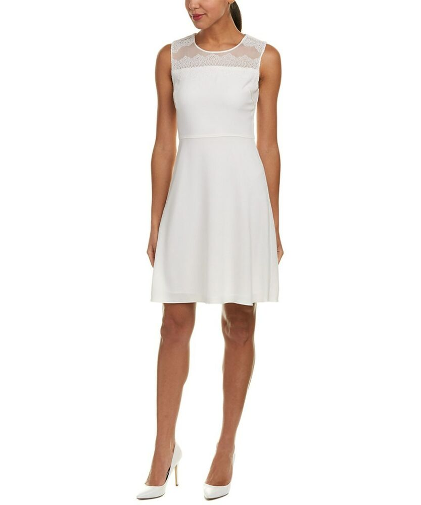 658eed3fc00 Details about Elie Tahari Bevin Women s Dress Sz 8 Lace Yoke Pearl Crepe  A-Line Cocktail Party