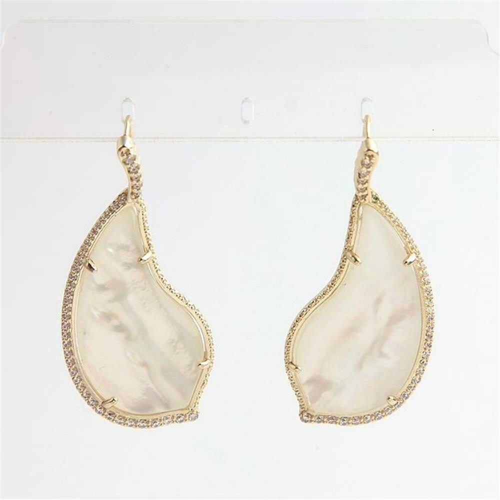 10f5ab024 Details about Kendra Scott Tinley Gold Tone Drop Earrings in Mother of Pearl