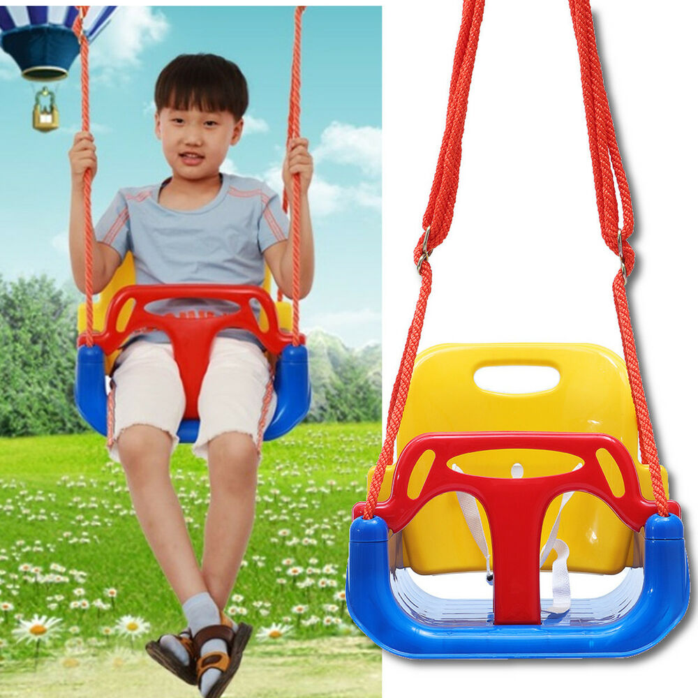Outdoor Garden Toddler Baby Kids High Back Rope Swing Seat