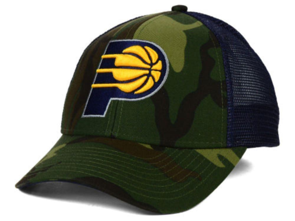 7f3a86b4f73b7e Details about Indiana Pacers Adidas NBA Camo Navy Trucker Snapback Hat Cap  one size fits most