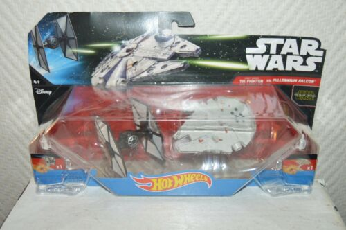 2 VAISSEAU HOT WHEELS STAR WARS TIE FIGHTER VS FAUCON MILLENIUM NEUF FALCON