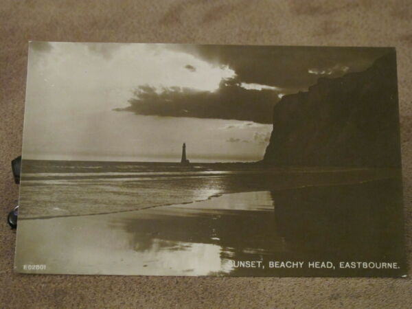 RP Sussex postcard -Atmospheric sunset scene- Beachy Head Lighthouse- Eastbourne