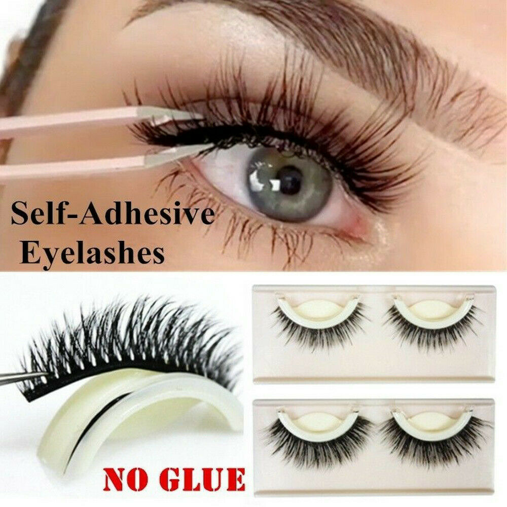 7ba17452850 Details about 3D Self Adhesive False Eyelashes Extension Reusable Natural  Curly Eye Lashes