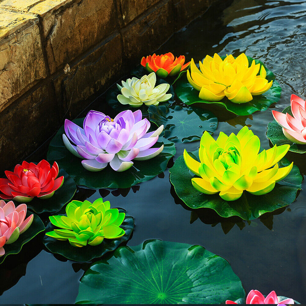 Artificial Lotus Flower Fake Plants Simulation Water Lily Green