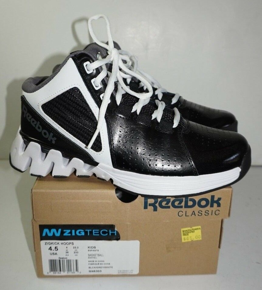 separation shoes 364a5 9932d Details about Reebok Zigkick Hoops Basketball Shoes Boys 4.5 Black White  Zigtech High Tops