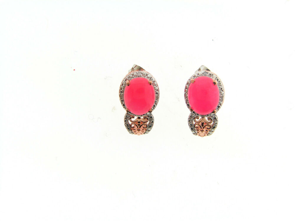 1e0b99499 Details about Sterling Silver Rose Plate Pink Candy Jade Diamond Accent  Fancy J Hoop Earrings
