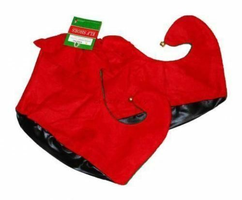 1 Pair  Red & Green Christmas Elf Shoes with Bells One Size NEW