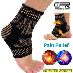 Copper Ankle Support Brace Compression Sleeve Foot Pain Relief Jogging Sprain HG
