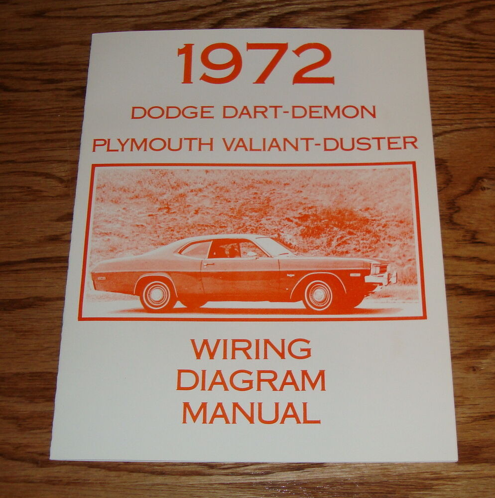 details about 1972 dodge dart demon plymouth valiant duster wiring diagram  manual 72
