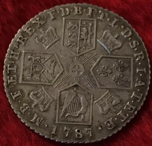 Antique Solid Silver 1787 King George III Shilling