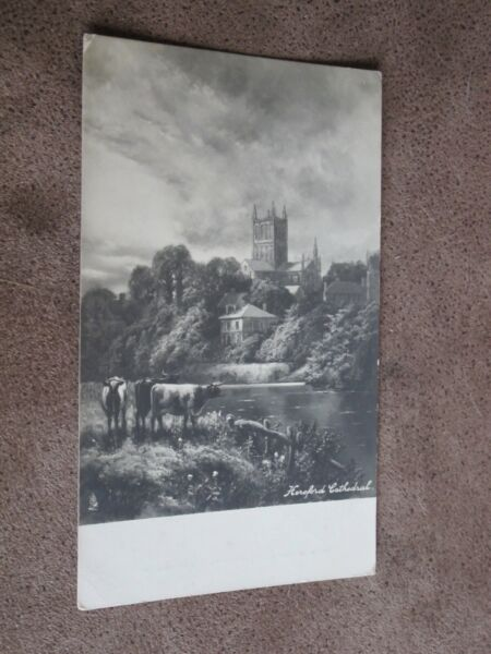Early Tuck Postcard - Atmospheric scene - Hereford cathedral with cattle