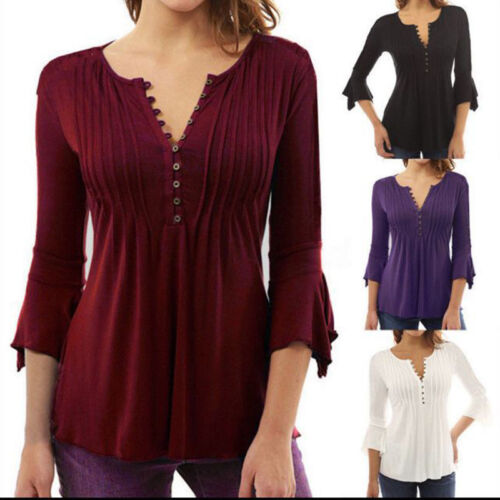 Women V Neck Peasant Tops Blouses Pleated T-Shirts Summer 3/4 Sleeve Tunic Shirt