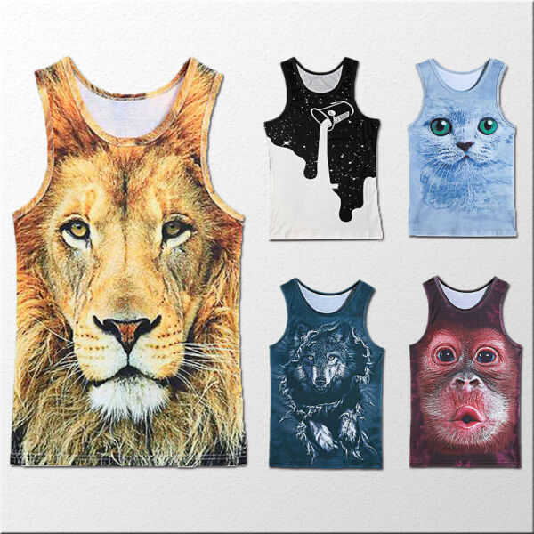 Mens Graphic 3D Printed Tank Top Gym Fitness Summer T-shirt Vest Sleeveless Tees