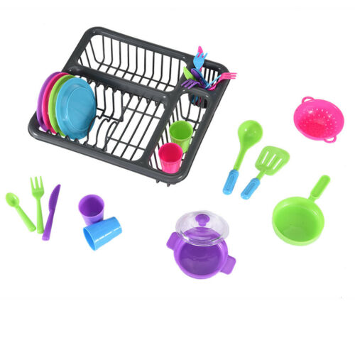 Kids Pretend Play Dishes Kitchen Playset Wash & Dry Tableware Dish Rack Toy New
