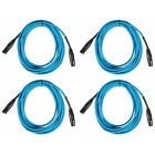 (4) Rockville RCXFM20E-Blue 20 Foot Female to Male XLR Mic Cables 100% Copper