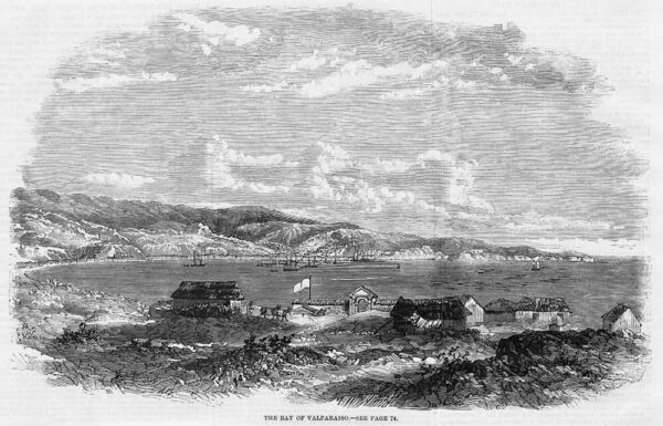 CHILE The Bay of Valparaiso - Antique Print 1859