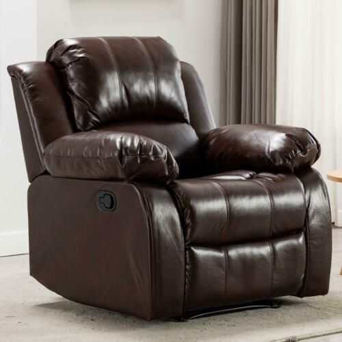 Overstuffed Recliner Chair Leather Heavy Duty Theater Bedroom Living Room Sofa