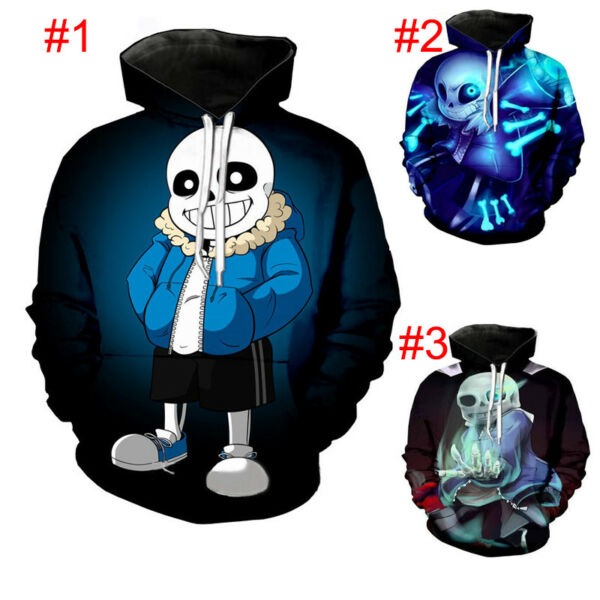 Undertale Sans Men Cosplay 3D Hoodie Sweatshirt Pullover Coat Hooded Jacket Tops
