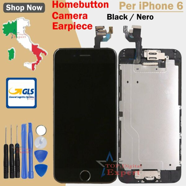 LCD DISPLAY PER IPHONE 6 NERO TOUCH SCREEN VETRO SCHERMO + FRAME HOME BUTTON GLS