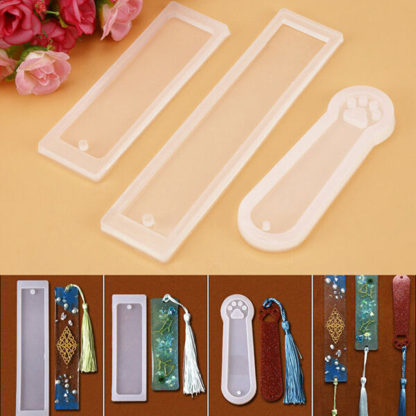 DIY 3Pcs Silicone Rectangle Cat Claw Mould Epoxy Resin Bookmarks Jewelry Making