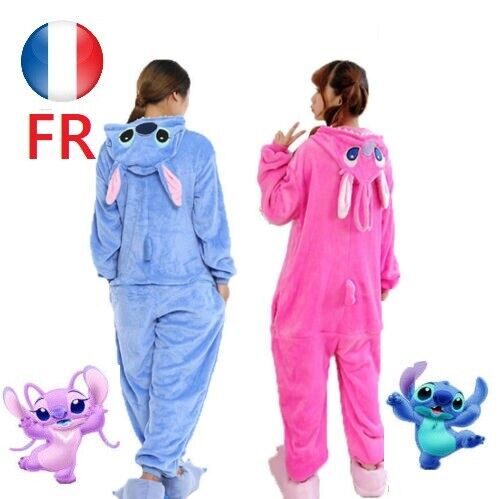 Bleu/rose Point Pyjamas Adulte stitch Animal Kigurumi Costume Unisexe Cosplay FR