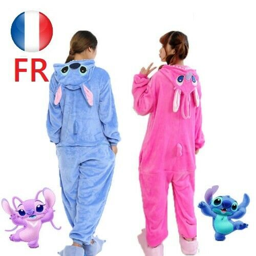 Adulte Bleu rose Point Pyjamas stitch Animal Kigurumi Costume Unisexe Cosplay GD