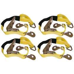 Kyпить 4 Yellow Axle Straps Car Carrier Tie Down Straps with Ratchets Tow Straps на еВаy.соm