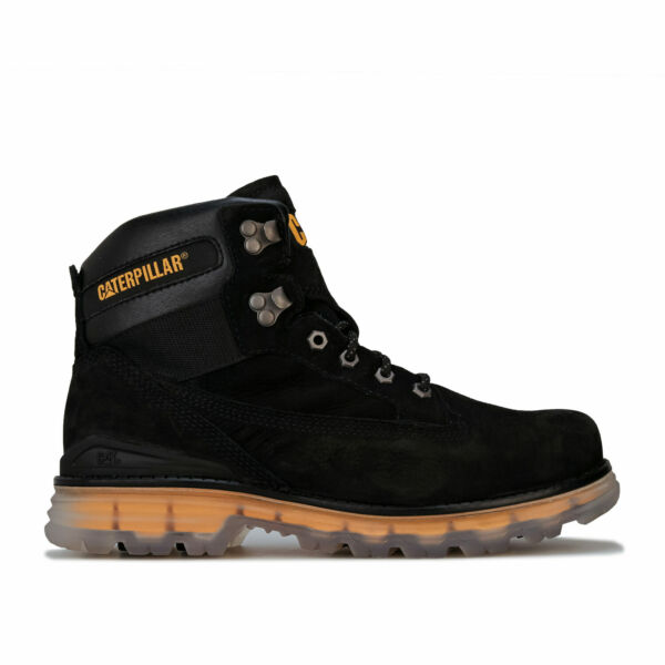 Mens Caterpillar Baseplate Leather Boots In Black- Lace Fastening- Engineered