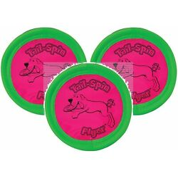 Booda 3 Pack Tail-Spin Flyer Dog Toys, 7-Inch