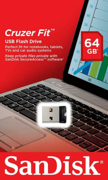 Sandisk 64GB 64 GB CZ33 Fit USB Chiave Flash Stick Drive Penna Chiavetta