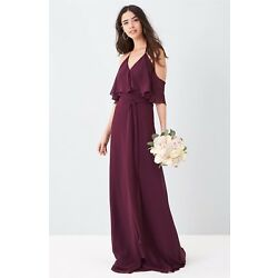 NEW!! Ceremony by Joanna August Small S   Dress Gown Wedding Bridesmaid Plum