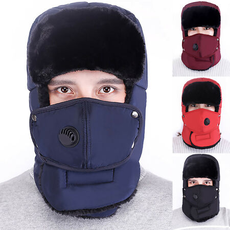 img-Men Trapper Hat Winter Earflap Warm Russian Face Mask Aviator Ski Cap Windproof