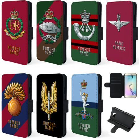 img-Personalised Military Samsung Phone Case S5 S6 S7 Flip Cover Cap Badge Gift TR