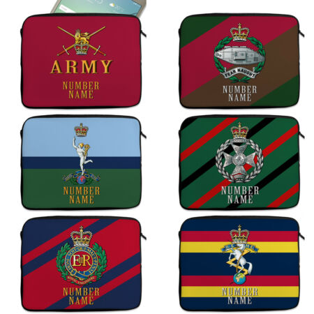 img-Personalised Military Tablet Sleeve Cap Badge Neoprene Travel Case Official TR