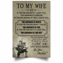 Vegeta & Bulma Poster To My Wife I Love You Single Moment Quote Wall Art