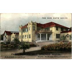 Paso Robles Hot Springs Hotel CA New Bath House Postcard unused 1900s undivided