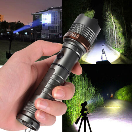 img-990000LM Powerful Tactical Torch Zoomable Lamp Military LED Flashlight UK Stock