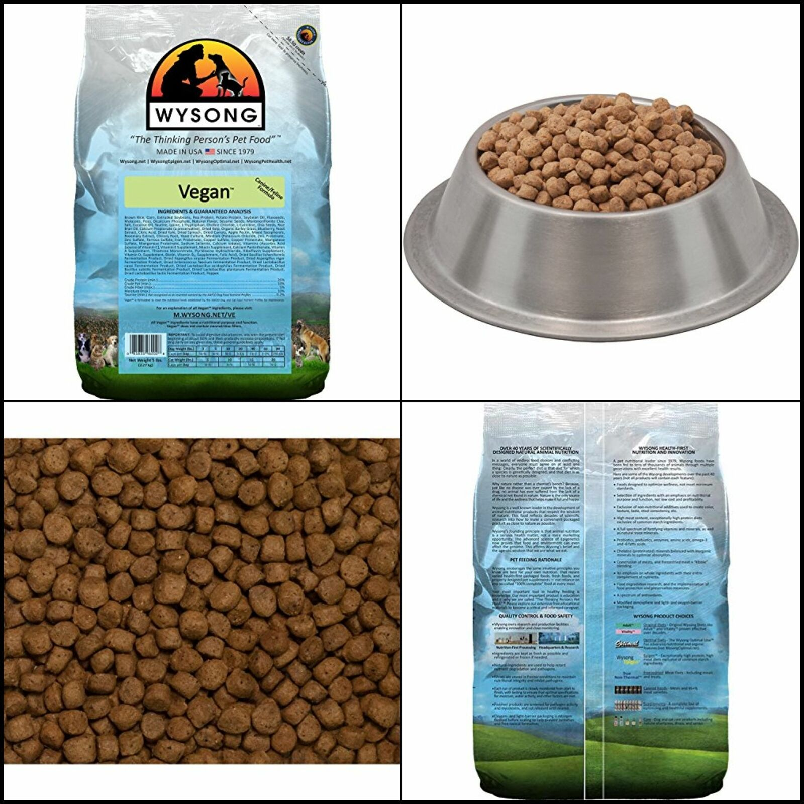 5 Lbs Bag Wysong Vegan Feline/canine Formula Dry Dog/cat Food Contains Flaxseeds