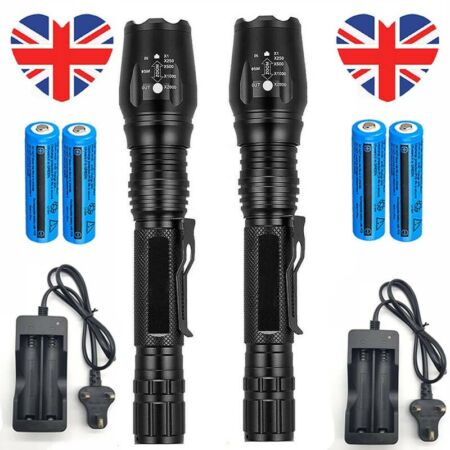 img-2x 950000LM Military Flashlight Powerful LED Torch Rechargeable+Charger UK Stock