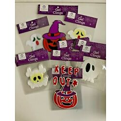 Lot of 18 Halloween gel clings party classroom  decor trick or treat skull ghost