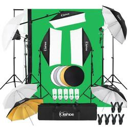 Kyпить Video Photo Studio Photography Lighting Kit 3 X Backdrops 5 X Umbrella Stand Set на еВаy.соm