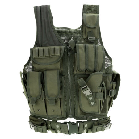 img-Adjustable Military Tactical Vest Airsoft Paintball Molle Plate Holder UK H1N2