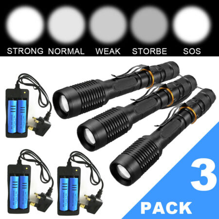 img-3Pcs Super Strong 990000LM Flashlight Military Police LED Torch+Battery+Charger