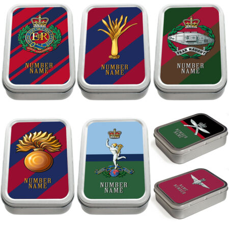 img-Personalised Military Tobacco Tin 2oz Pill Box Remembrance Army Official Gift