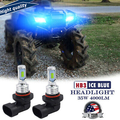2X LED Car Headlight Bulb Ice Blue HB3 For Honda Foreman Rubicon 500 Rancher 420