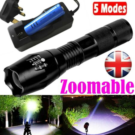 img-900000LM Tactical Torch Lamp Super Bright Powerful Police T6 LED Flashlight+Batt