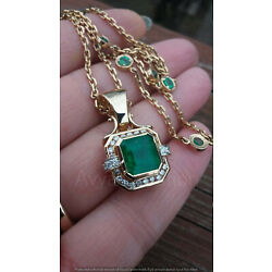 Kyпить 14k Yellow Gold Over 3.50Ct Diamond Colombian Emerald Pendant With Chain на еВаy.соm