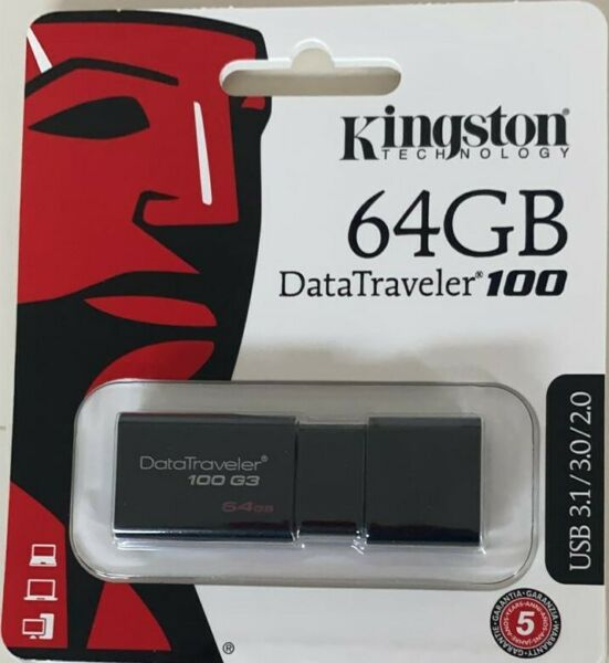 KINGSTON DATATRAVELER 100 G3 DT100G3/64GB USB 3.0 3.1 PENDRIVE CHIAVETTA 64 GB