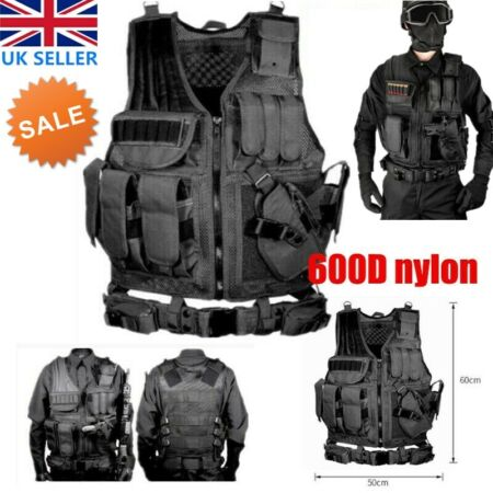 img-Military Tactical Vest CS Paintball Airsoft Hunting Molle Mag Assault Pouches UK