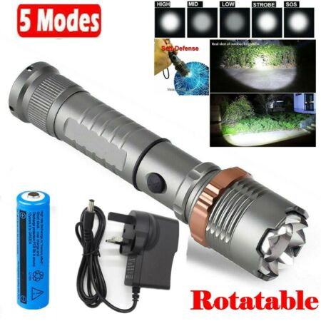 img-Super Strong 990000LM Tactical T6 LED Flashlight Torch HeadLight Lamp+Battery UK
